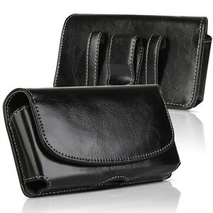 Business Men Vertical PU Leather Cell Phone Pouch Case Belt Loop Holder