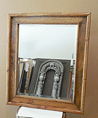 "Large Natural Solid Wood ""21x25"" Rectangle Beveled Framed Wall Mirror"