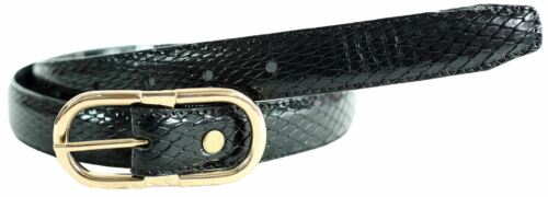 New Womens 25mm Gold Buckle Reptile Skin Buff Waxed Genuine Leather Belts M-4XL