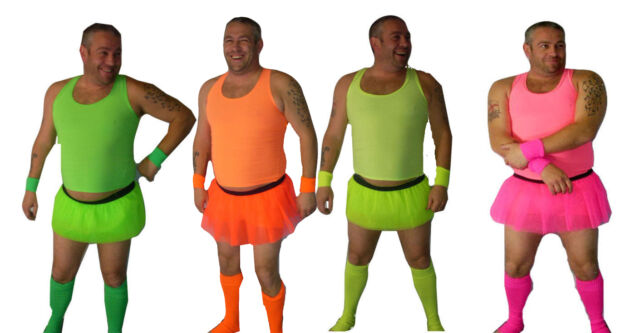 Stag Party Costumes Neon Guys  Full Sets Mens Funny Tutus party outfits
