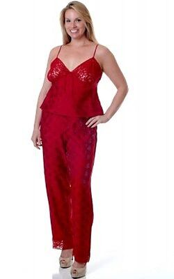 PLUS SIZE RED FLORAL LACE LINGERIE CAMI LONG PANT PAJAMAS PJS 1X 2X 3X