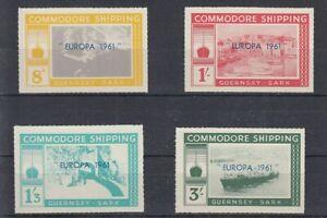 Europe-Cept-1961-Guernsey-Sark-Commodore-Ship-4-Values-Cinderella-MNH