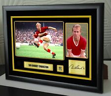 """Sir Bobby Charlton Framed Canvas Print Signed Limited Edition """"Great Gift"""""""