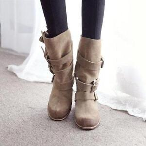 Womens Buckle-Strap Slouch Motorcycle Ankle Boots