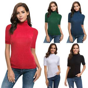 c63d8d3a4a591 Women Short Sleeve Slim Fit Mock Turtleneck Stretch Comfy Basic T ...