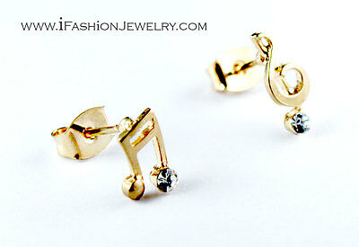 Mini Gold Tone Treble Music Note Stud Earrings Fashion Gift Music Lover Musician
