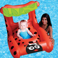 Poolmaster 81556 Swimming Pool Little Lady Bug Buggy Baby Seat Rider With Canopy