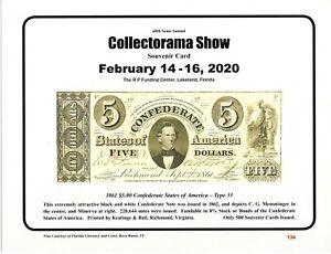 February L53 2018 Collectorama Souvenir Card 1861 $10.00 Confederate T-30