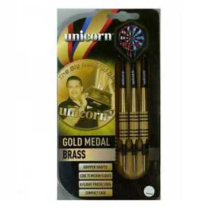 Unicorn-Gary-Anderson-Gold-Medal-Brass-Darts-Set-Shafts-Flights-Case
