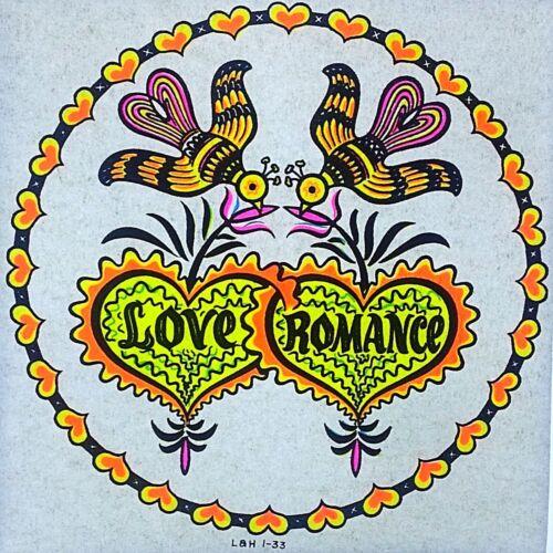 Original Vintage Love Romance Love Birds Iron On Transfer DAYGLO