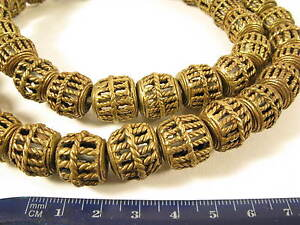 In Design; UnabhäNgig Strang 15mm Messingperlen T1 Gelbguß Ghana Brass Beads Ashanti Akan Afrozip Novel