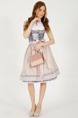 46466 Kruger Ladies Dirndl Trachten Dress Blue Rose New Size 38 Skirt Length 60 Cm