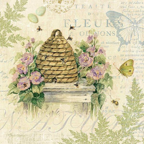 Pamela Gladding  Nature Trail II Keilrahmen-Bild Leinwand Natur Bienen Shabby