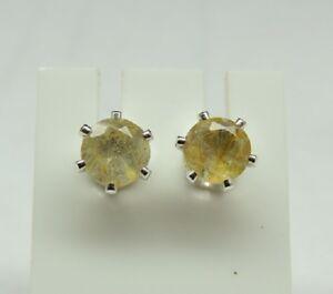 seltener-1-66-Carat-goldener-Rutilquarz-Ohrstecker-925-Silber-Brasilien-Top