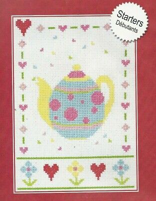 Set of TWO New in Package Rose Bouquet Teapot Cross My Heart Counted Cross Stitch Teapot Kit Teatime Teapot Kit Violet Teapot
