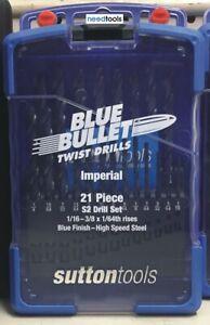 DRILL SET Imperial 21 Piece 1/16-3/8 x 64th rises Blue Bullet Drill Set Sutton T