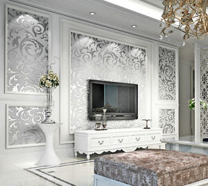 Image Is Loading 10m Luxury Silver Victorian Damask Embossed Wallpaper