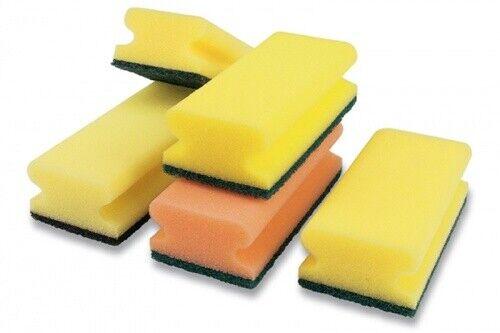 Reinigungsschwamm mit Griff Groß gelb//grün 150x90x45 mm 10x Padschwamm