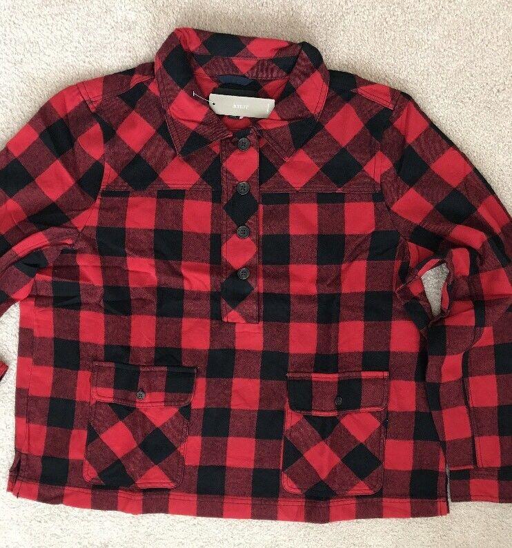 J Crew damen shirt-jacket in buffalo check rot schwarz XXS  2XS