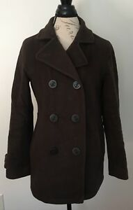 Misses Double Coat Bean Ll Reg Breasted Lambs 6 Button Jacket Up Brown Uld Pea WqYnzpqPw4