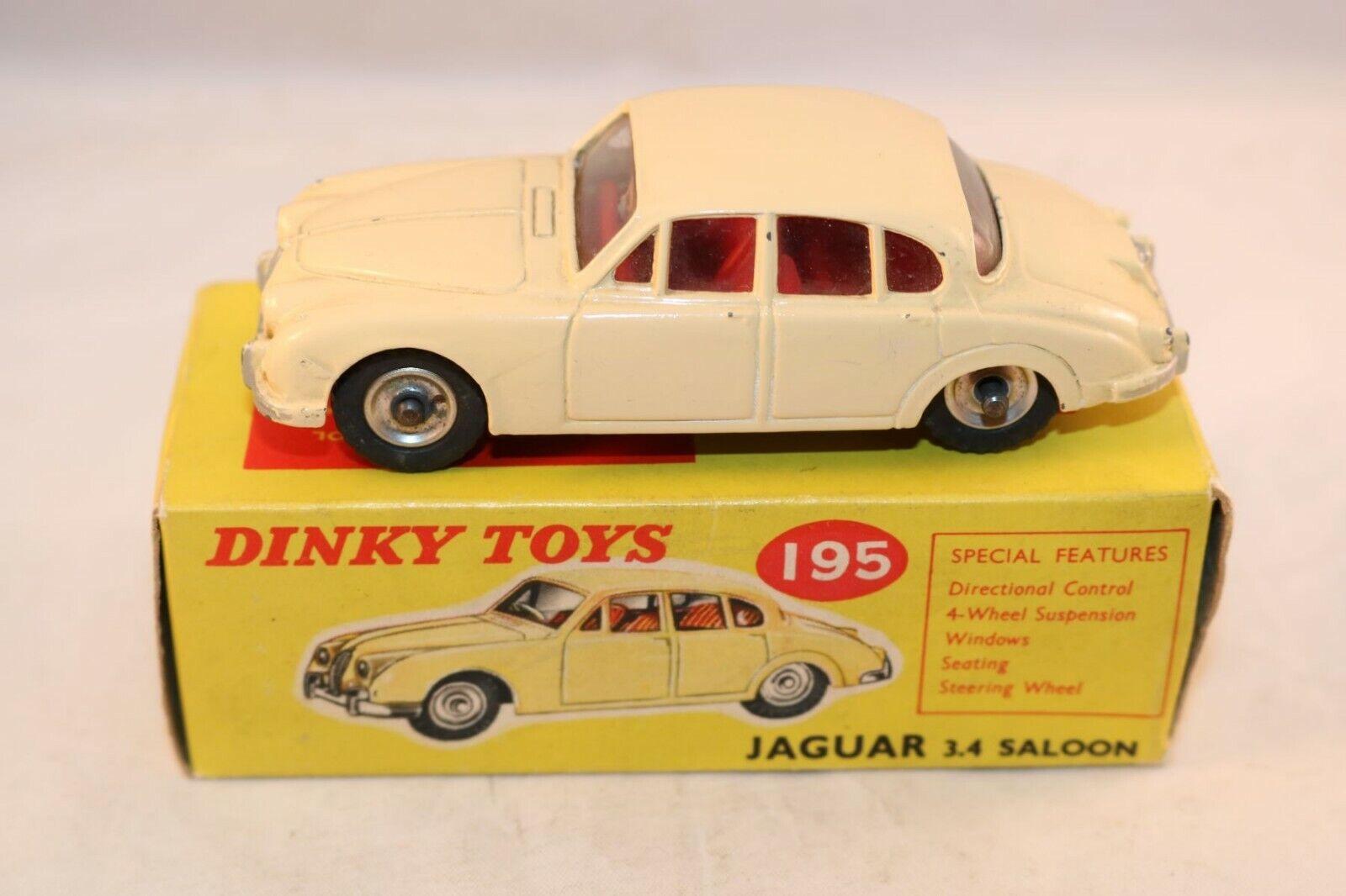 Dinky Toys 195 Jaguar 3.4 Saloon cream very near mint in box all original