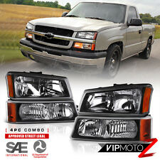 2003-2006 Chevy Silverado Avalanche 1500 2500 3500 Black Turn Signal Head Lights