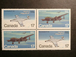 Canada Avro Lancaster CF-100 aircraft stamps plate block - MNH 1 cent start!