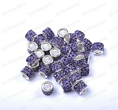 Big Hole TUBE SHAPES Czech Crystal Rhinestone Pave Rondelle Spacer Beads 11MM