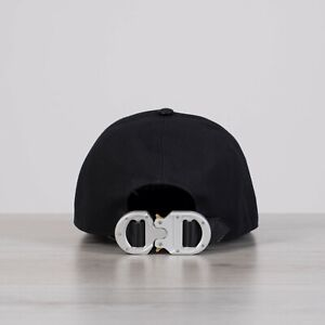 9112984f60ba4e DIOR x ALYX 850$ New Black Cotton & Leather Baseball Cap With