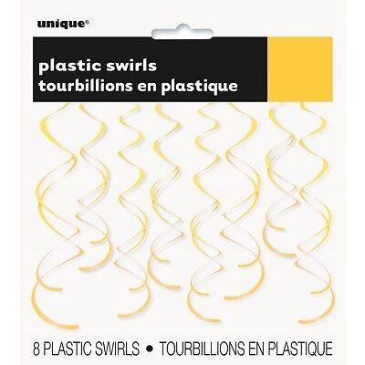 8 Plastic Hanging Swirl Decorations - 66cm {Unique} (Party/Decoration/Birthday)