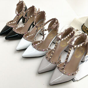 UK-Women-Studded-Shoes-Pointed-Toe-Ankle-Strappy-Pumps-High-Heels-Rivet-Sandals