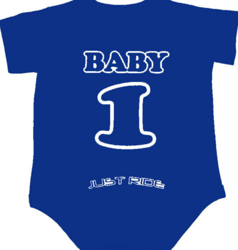 MOTOCROSS BABY NUMBER PLATE ONE PIECE SHIRT INFANT MX JUST RIDE YAMAHA YZ BLUE