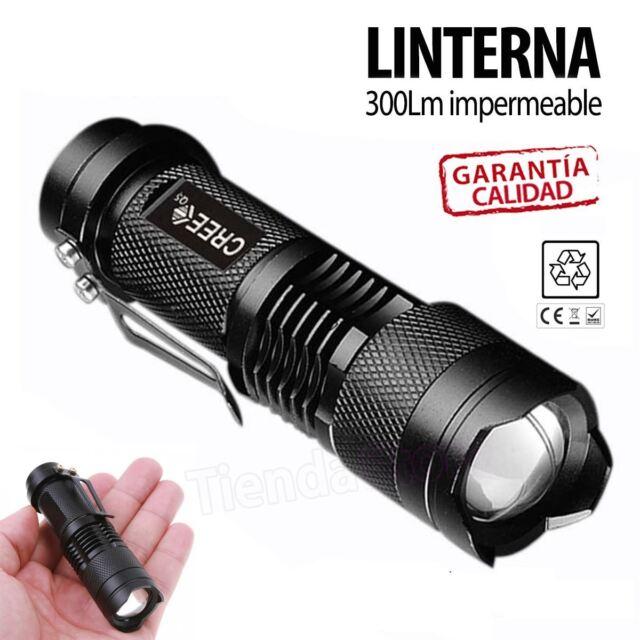 Mini linterna led CREE Q5 7W 300LM Flash LED con zoom impermeable caza pesca