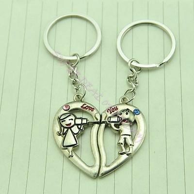 Lovely Hear Love To You Forever Key Chain Keyring Keyfob Lover Couple Gift Ring