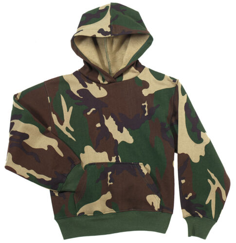 Kids Camo Hoodie Army Marine Woodland Camouflage Pull Over Hooded Sweatshirt