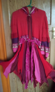 Upcycled jumper recycled Goddess Elf Fairy Pixie coat Hot pink purple gold 8-12