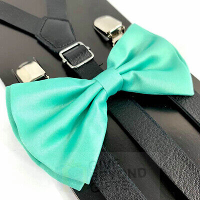 Suspender and Bow Tie Adult Skinny Leather Black Diamond Formal Wear Accessories