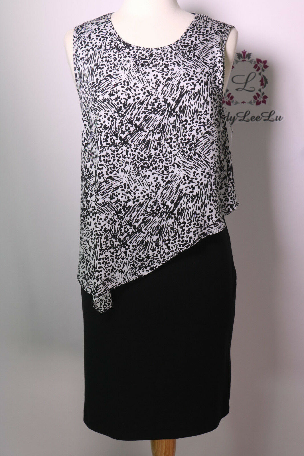 DKNY Light Weight Ponte Dress with Painted Animal Print Overlay Ivory Size M New
