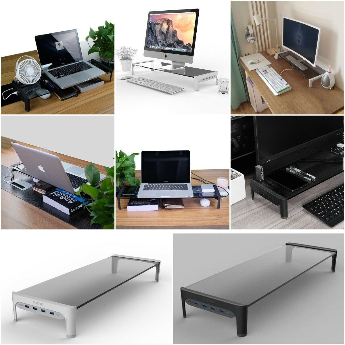 Monitor Laptop Stand Space Bar Non-slip Glass+ABS Desk Riser with 3 ports Hub