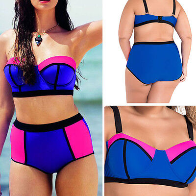 bff916c88f 2pc Blue/Pink Line Padded Bra Top High Waist Color Block Swimsuit ...