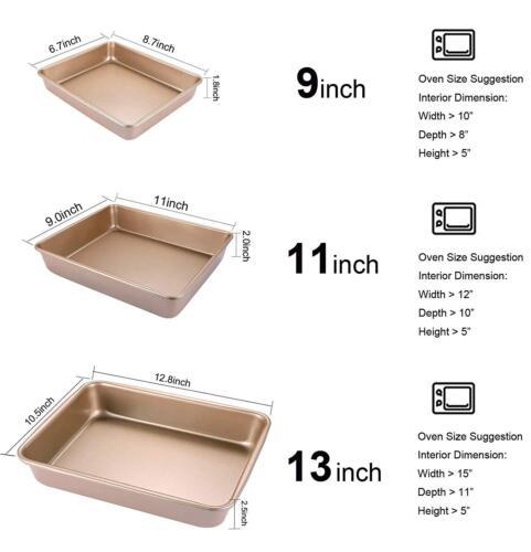 3-Piece Bakeware Set Nonstick Toaster Oven Baking Sheet Pans For Commercial Baki