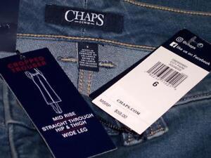 NWT EVRI Plus Size Blue Wide Leg Denim Crop Capri Jeans MSRP $56 FREE SHIPPING