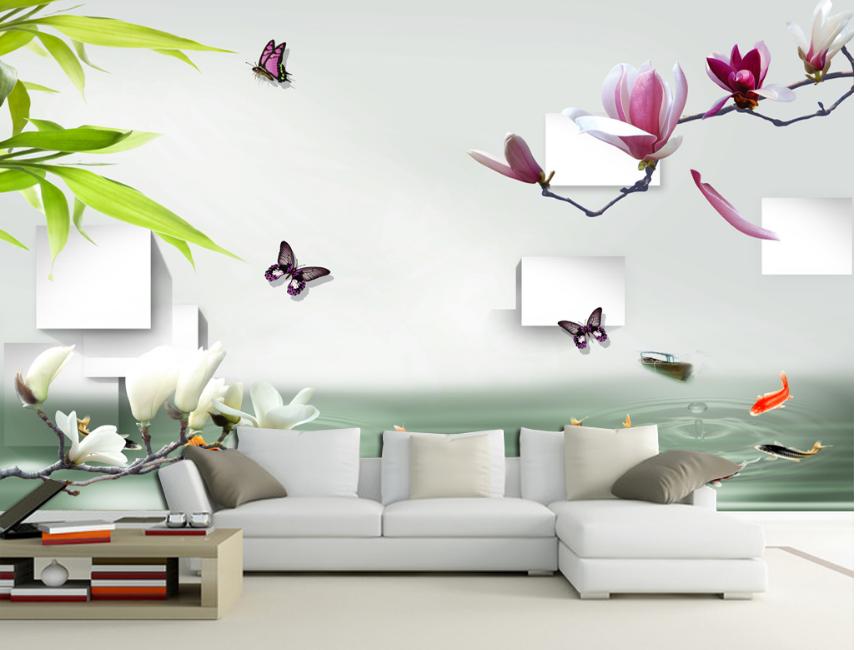 3D Schmetterling Fischteich 88 Tapete Wandgemälde Tapete Tapeten Bild Familie DE    Verschiedene Waren    Erlesene Materialien    Primäre Qualität