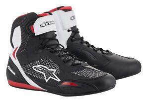 ALPINESTARS-FASTER-3-rideknit-shoes-tg-10-5-43-5-Scarpe-da-moto-black-white-red