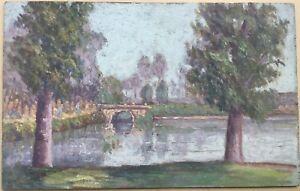 Tableau-Petite-Huile-Sur-Panneau-L-His-Paysage-Campagne-Lac-Pont-Reflets-1900-H9