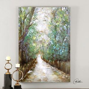 Details About Contemporary Impressionist Forest Path Wall Art Large Oil Painting Trees