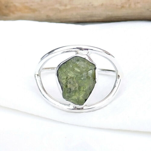 925 Sterling Silver Natural Peridot Ring Rough Peridot Handmade Ring-EB2917