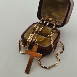 9ct Oro Amarillo Cruz Colgante Collar Cadena de enlace de fantasía