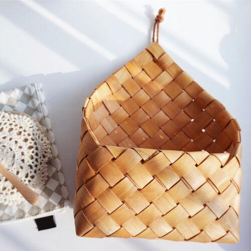 Wicker brown wood wall hanging pocket basket flat back door country decor NIUS