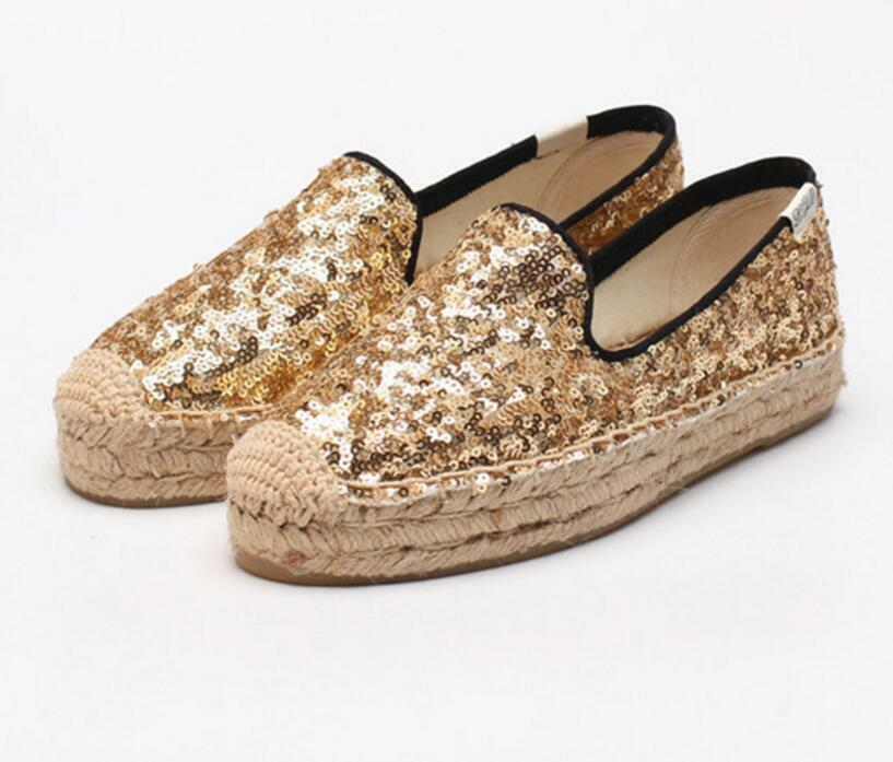 femmes Gllitter Comfy Espadrille Silp On Casual Canvas Loafers Flats lazy chaussures